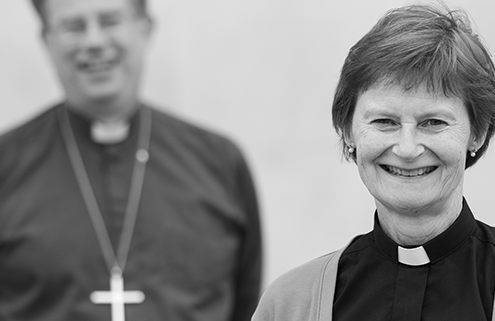 Olivia Graham with Bishop Steven in the background